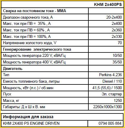 Технические характеристики сварочных генераторов KHM 2*400 PS